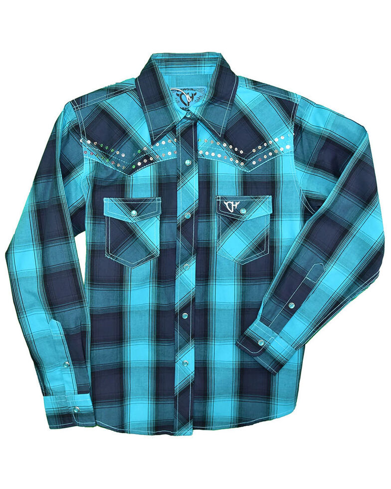 Cowgirl Hardware Girls' Turquoise Plaid Sequin Long Sleeve Western Shirt , Turquoise, hi-res