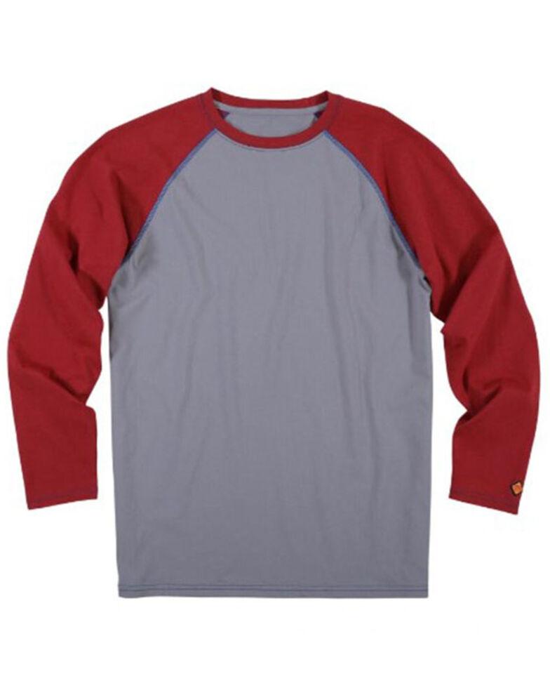 Wrangler Men's Red FR Knit Baseball Long Sleeve Work Shirt - Big, Red, hi-res
