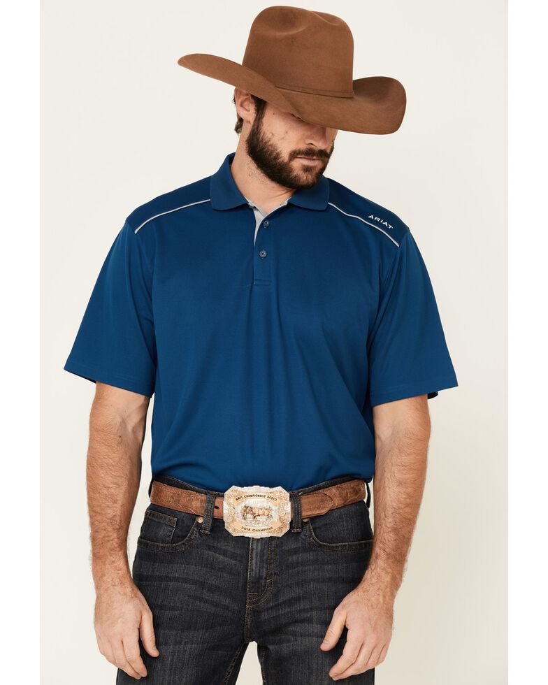 Ariat Men's Blue Opal Tek 2.0 Short Sleeve Polo Shirt , Blue, hi-res