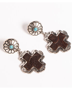 Shyanne Women's Texas Rose Tooled Cross Concho Earrings, Silver, hi-res