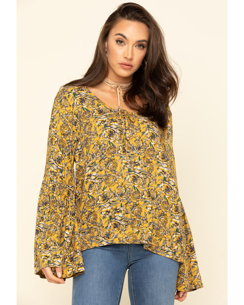 Rock & Roll Cowgirl Women's Yellow Floral Bell Sleeve Top, Mustard, hi-res