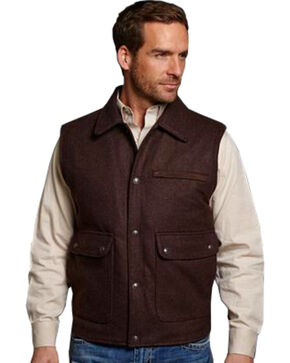Cripple Creek Men's Wool Melton Vest, Brown, hi-res