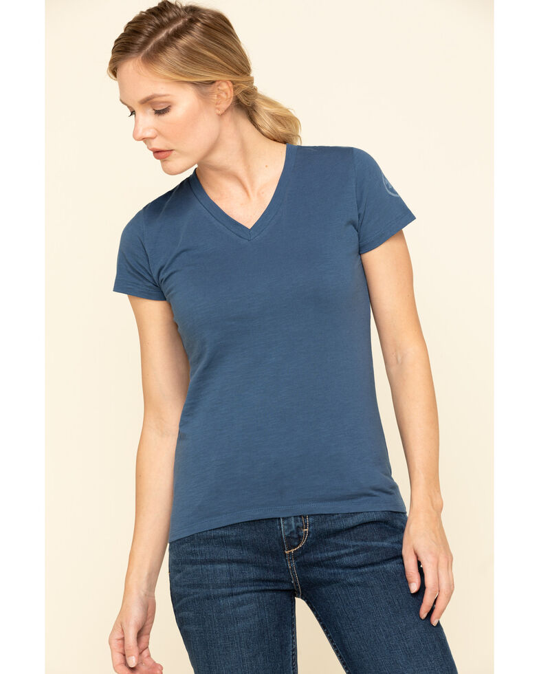 Dovetail Workwear Women's Navy Solid V-Neck Work Tee, Medium Blue, hi-res