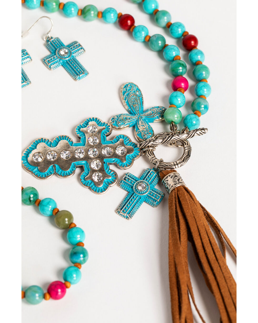 Shyanne Women's Guadalupe Cross Charm Tassel Jewelry Set, Multi, hi-res