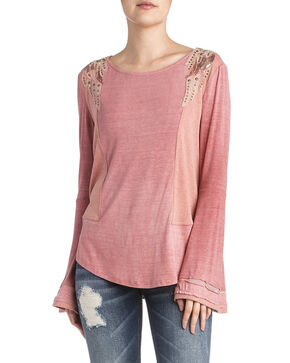 Miss Me Women's Sequin Angel Wings Long Sleeve Top, Coral, hi-res