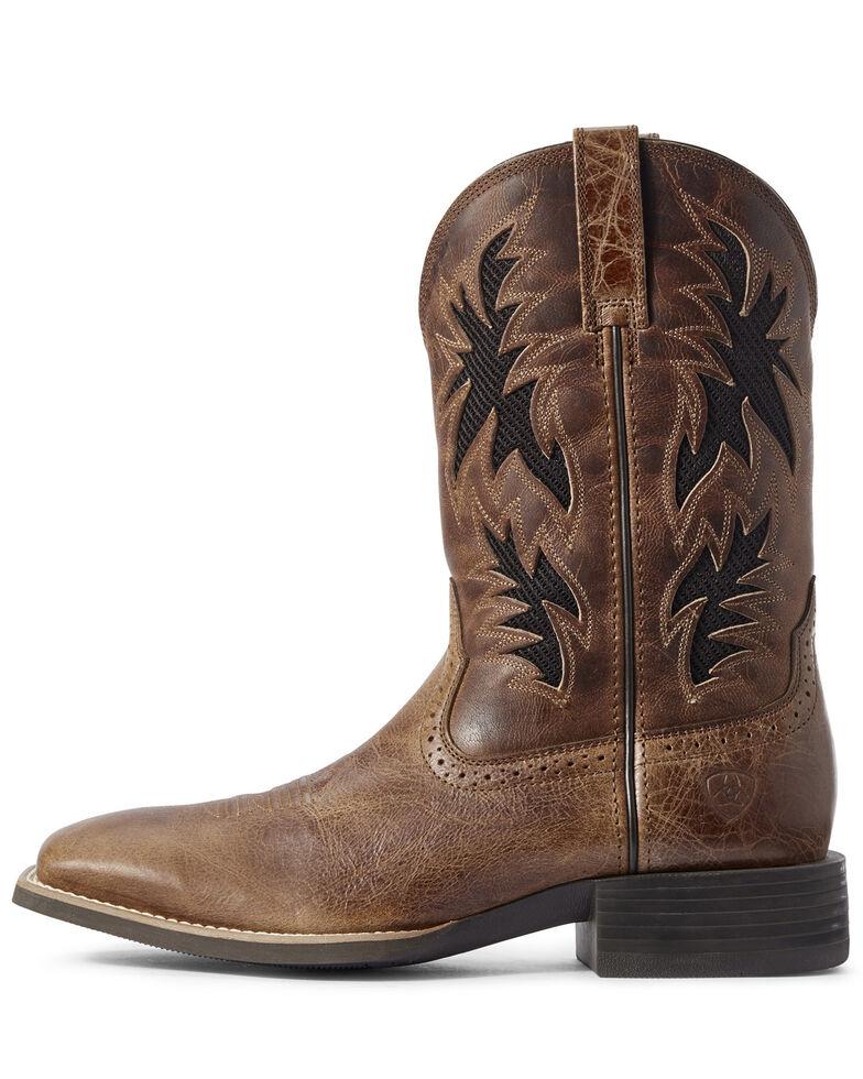 Ariat Men's Sport Cool VentTEK Western Boots - Wide Square Toe, Brown, hi-res