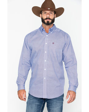 Ariat Men's Zeplin Geo Print Long Sleeve Western Shirt , Blue, hi-res