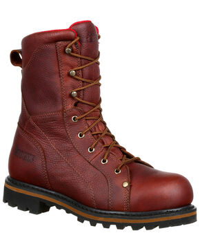 Rocky Men's Three Cut Logger Waterproof Work Boots - Steel Toe, Brown, hi-res