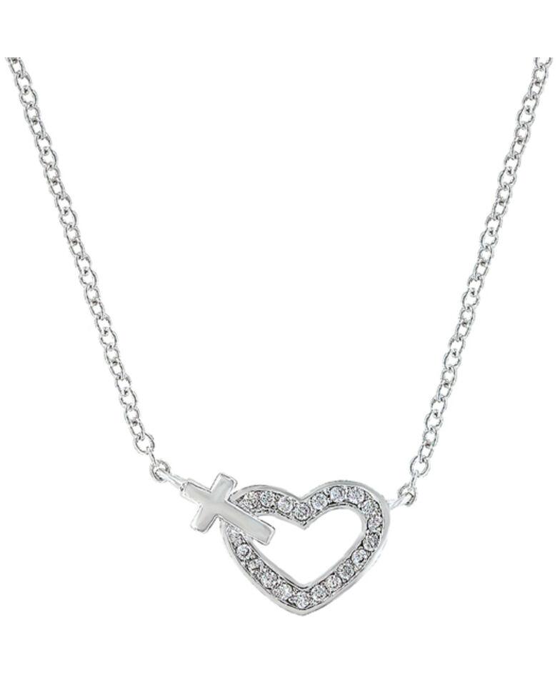 Montana Silversmiths Women's Heart of Faith Necklace, Silver, hi-res