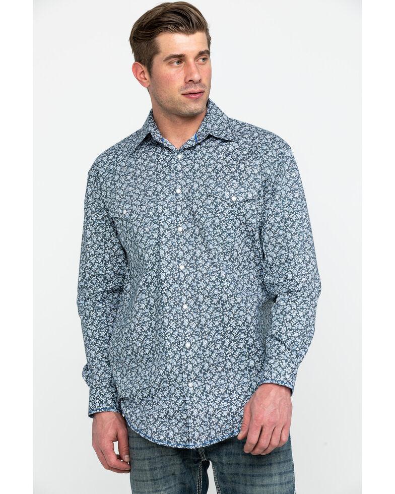 Rough Stock By Panhandle Men's Langunita Vintage Print Long Sleeve Western Shirt , Grey, hi-res