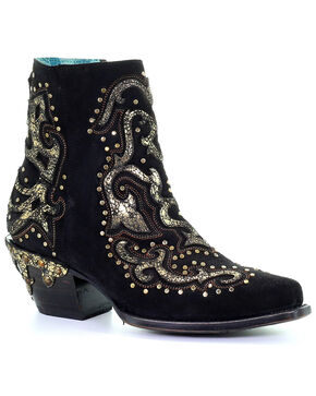 Corral Women's Black Metallic Overlay Booties - Snip Toe, Black, hi-res