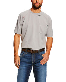 Ariat Men's FR Silver Fox Base Layer Short Sleeve Work Shirt - Tall , Grey, hi-res