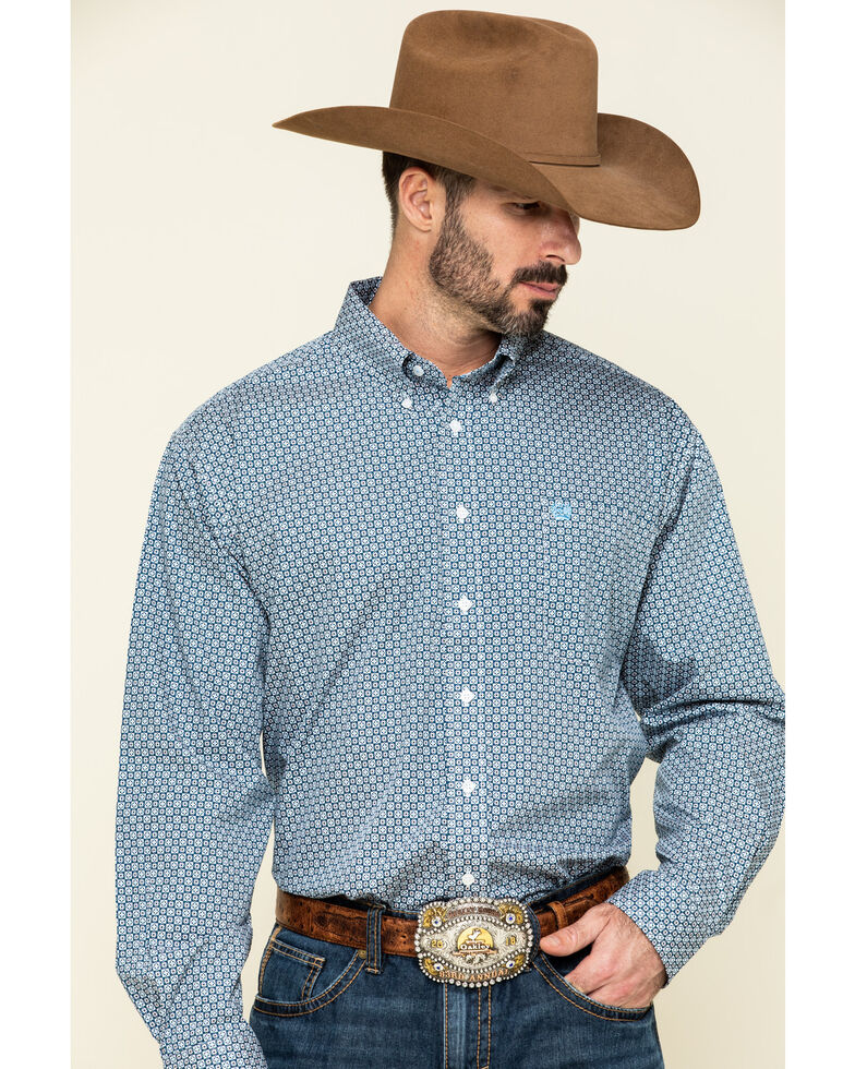 Cinch Men's Multi Square Small Geo Print Long Sleeve Western Shirt , Multi, hi-res