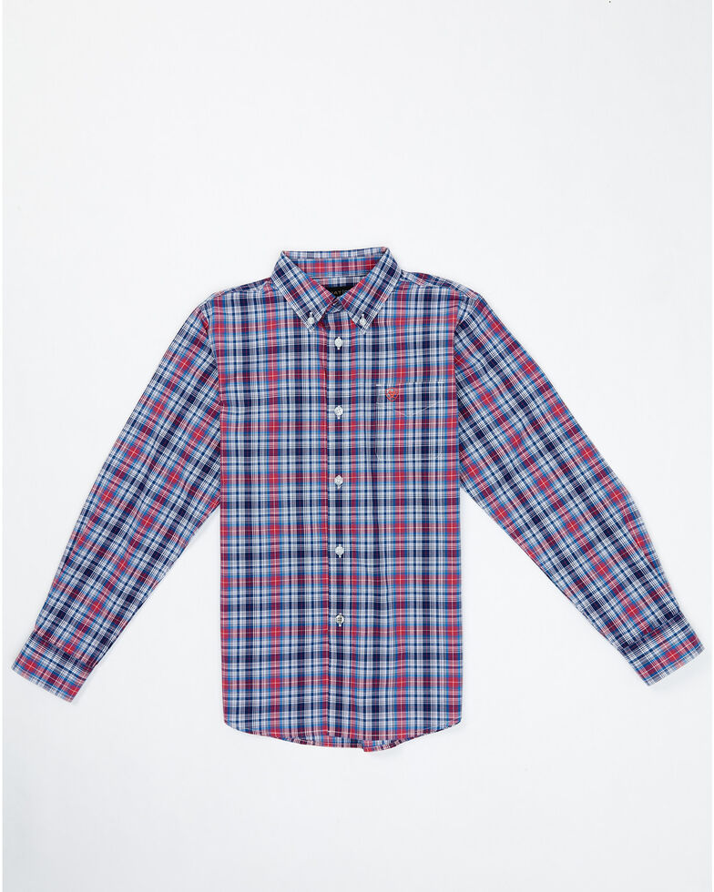 Ariat Boys' Brandon Plaid Button Long Sleeve Western Shirt , Blue, hi-res