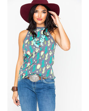 Rock & Roll Cowgirl Women's Cactus Print Cross Back Tank, Grey, hi-res