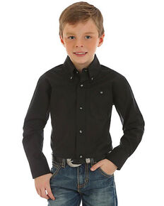 Wrangler Boys' Classic Solid Button Long Sleeve Shirt , Black, hi-res