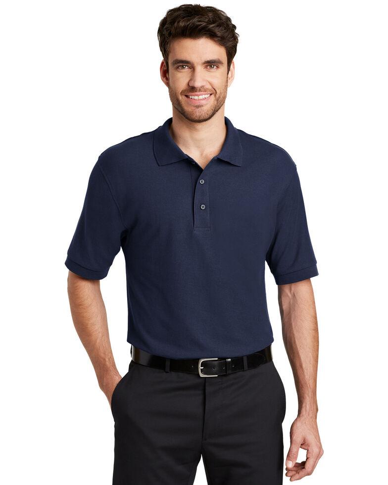 Port Authority Men's Navy Silk Touch Short Sleeve Polo Shirt - Big , Navy, hi-res