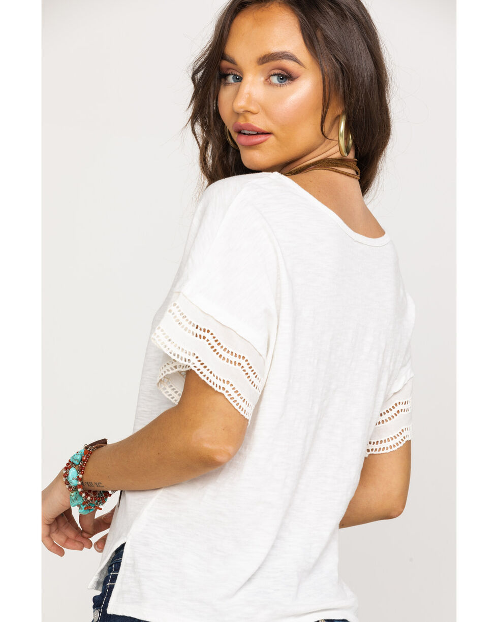 Shyanne Women's White V-Neck Lace Short Sleeve Tee  , White, hi-res