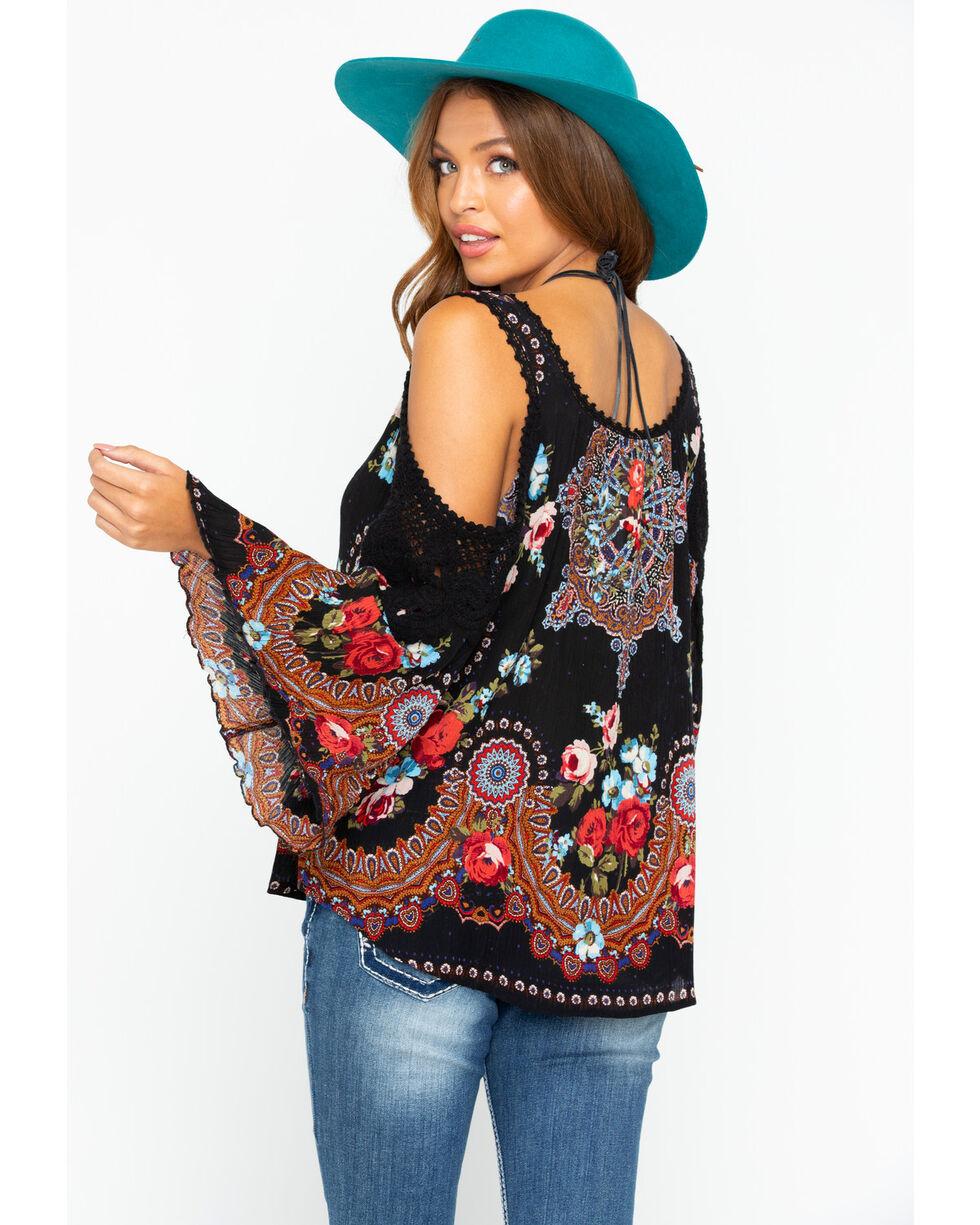 Bila Women's Gypsy Print Cold Shoulder Top , Black, hi-res