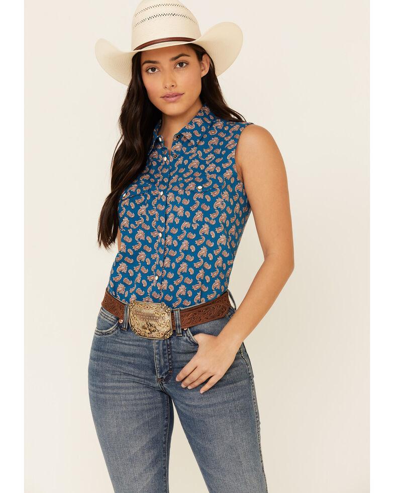 Shyanne Life Women's Blue Paisley Print Sleeveless Western Core Shirt , Blue, hi-res