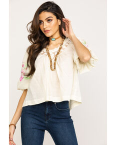 Free People Women's Bohemia Blouse , White, hi-res