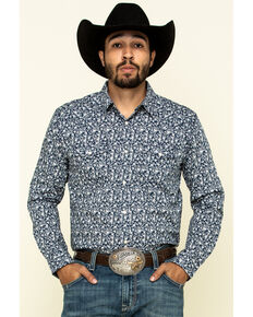 Cody James Men's Triple Crown Small Floral Print Long Sleeve Western Shirt , Navy, hi-res