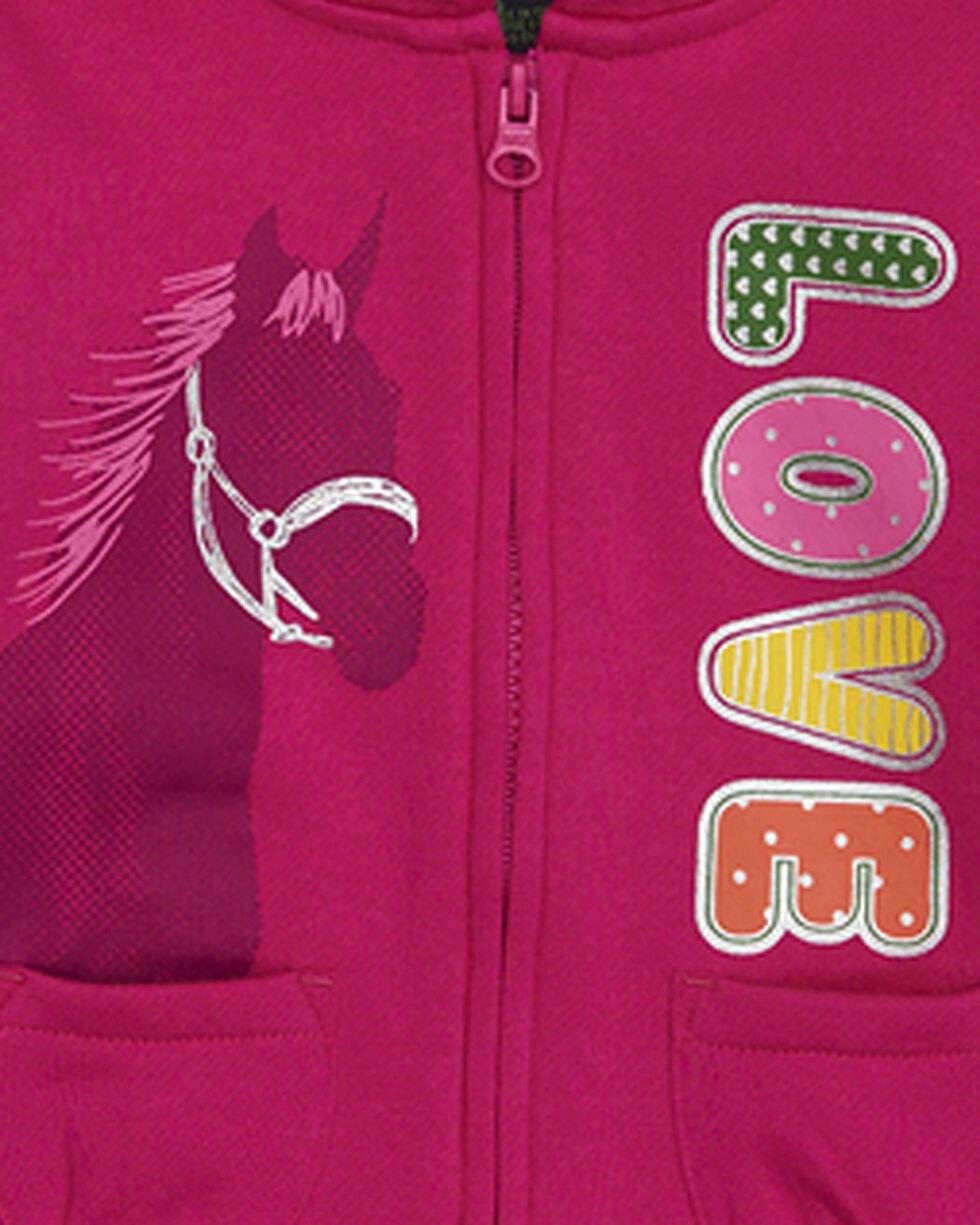 John Deere Toddler Girls' Pink Love Horse Fleece Hoodie , Pink, hi-res