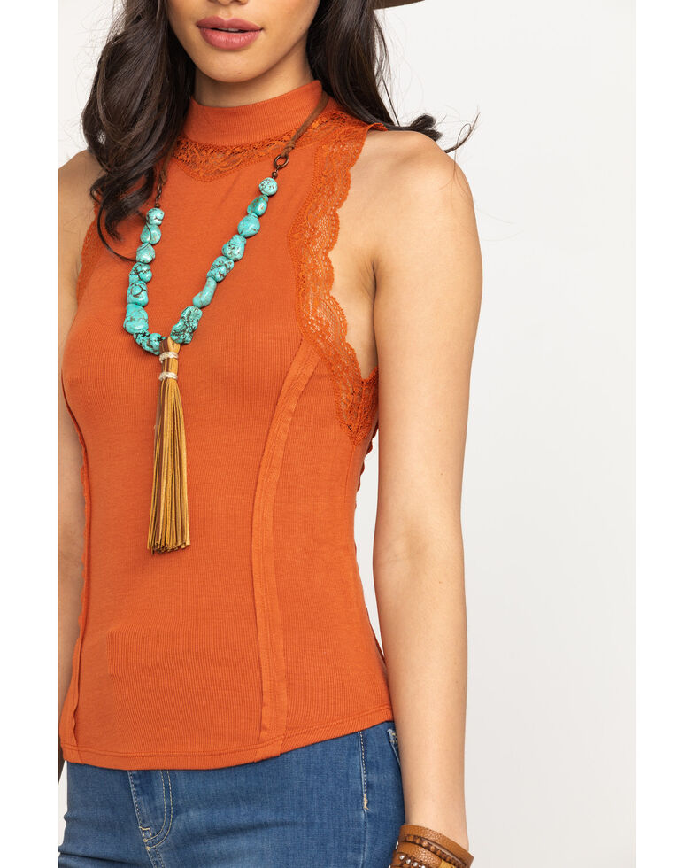 Free People Women's Ribbed Mock Tank Top, Rust Copper, hi-res