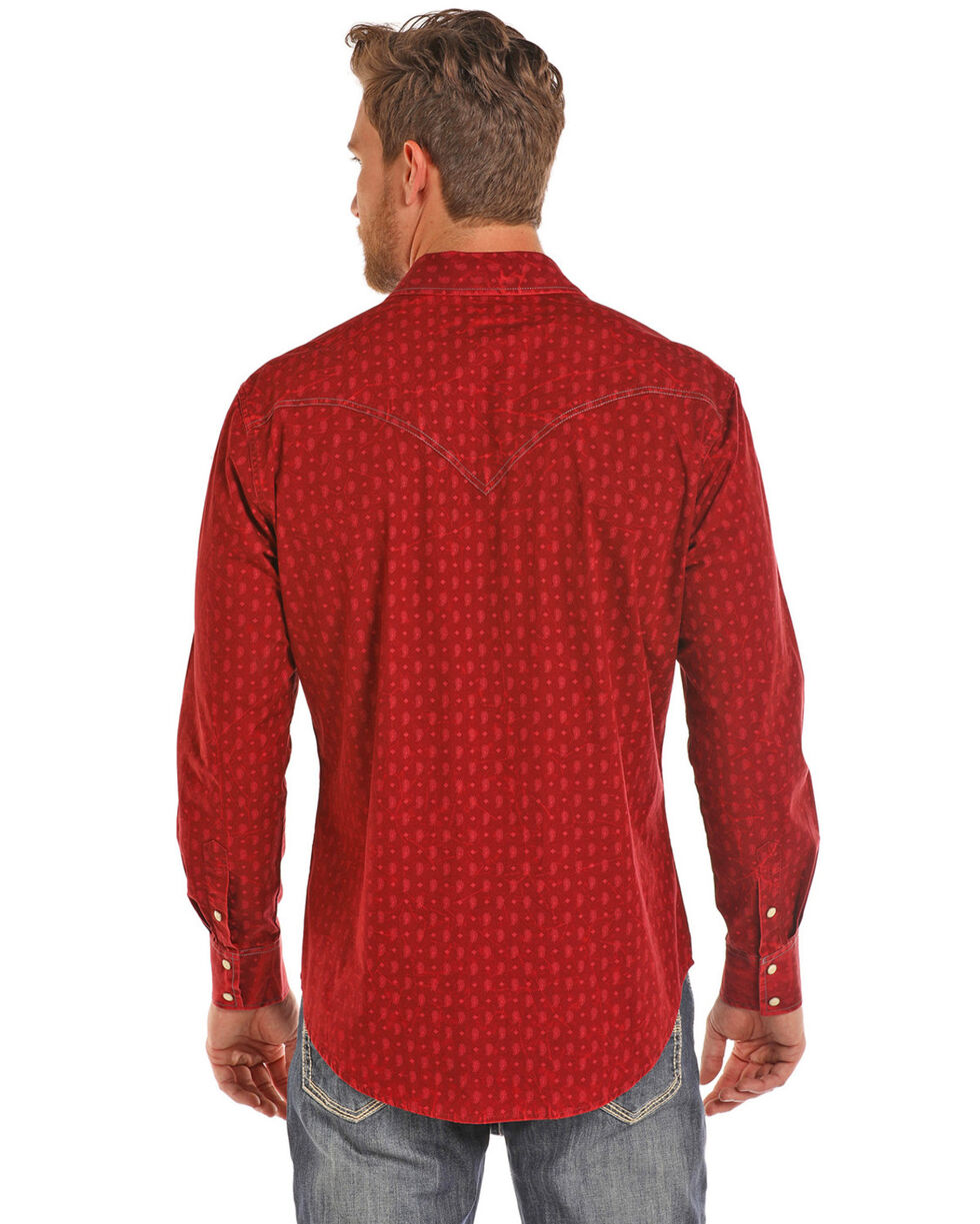 Rock & Roll Cowboy Men's Bleach Washed Poplin Print Long Sleeve Western Shirt , Red, hi-res