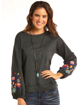 Rock &Roll Cowgirl Women's Bishop Sleeve Pullover , Grey, hi-res
