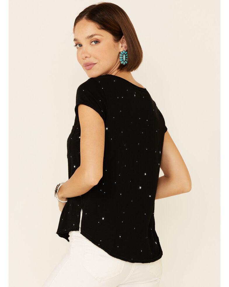 Shyanne Women's Black Star Print Short Sleeve Pocket Tee , Black, hi-res