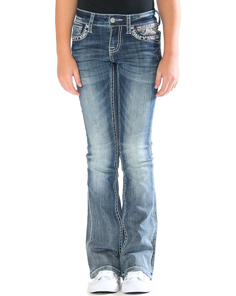Grace in LA Girls' Blue Aztec Bling Pocket Jeans - Boot Cut , Blue, hi-res