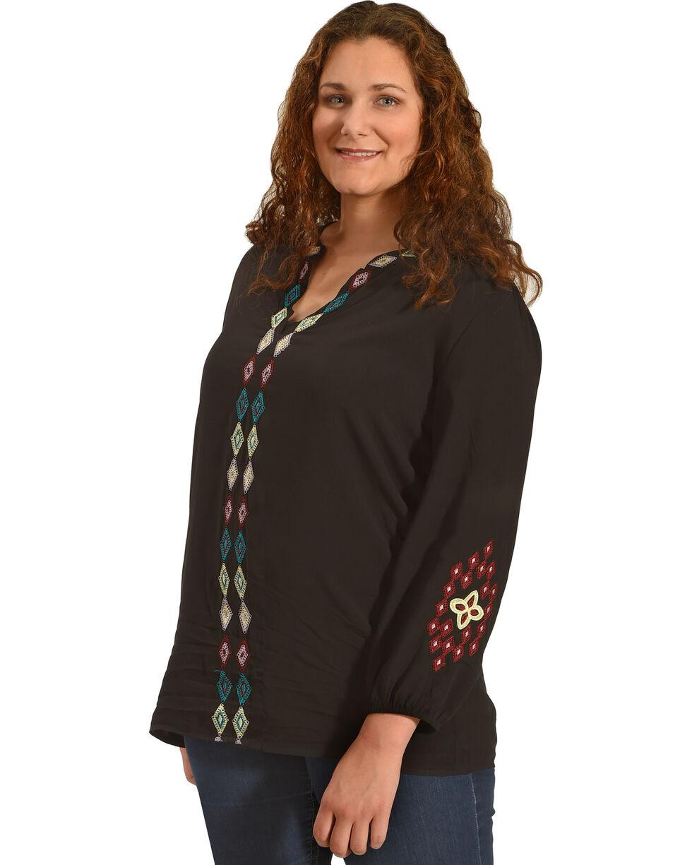 Angel Premium Women's Embroidered Rosa Top - Plus, Black, hi-res