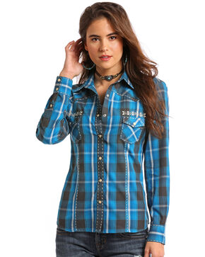 Panhandle White Label Women's Plaid Long Sleeve Western Shirt, Blue, hi-res
