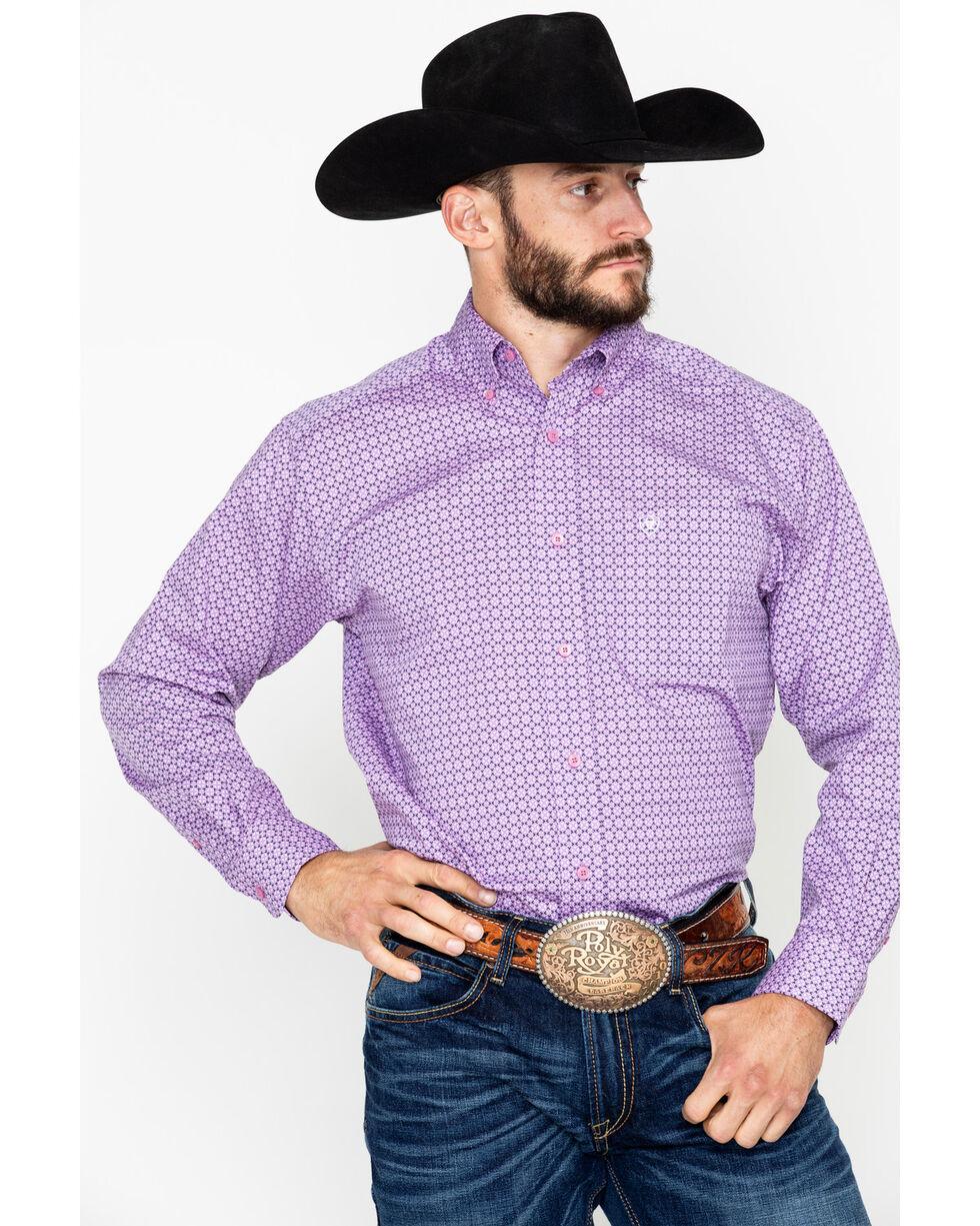 Ariat Men's Albarado Stretch Print Long Sleeve Western Shirt, Purple, hi-res