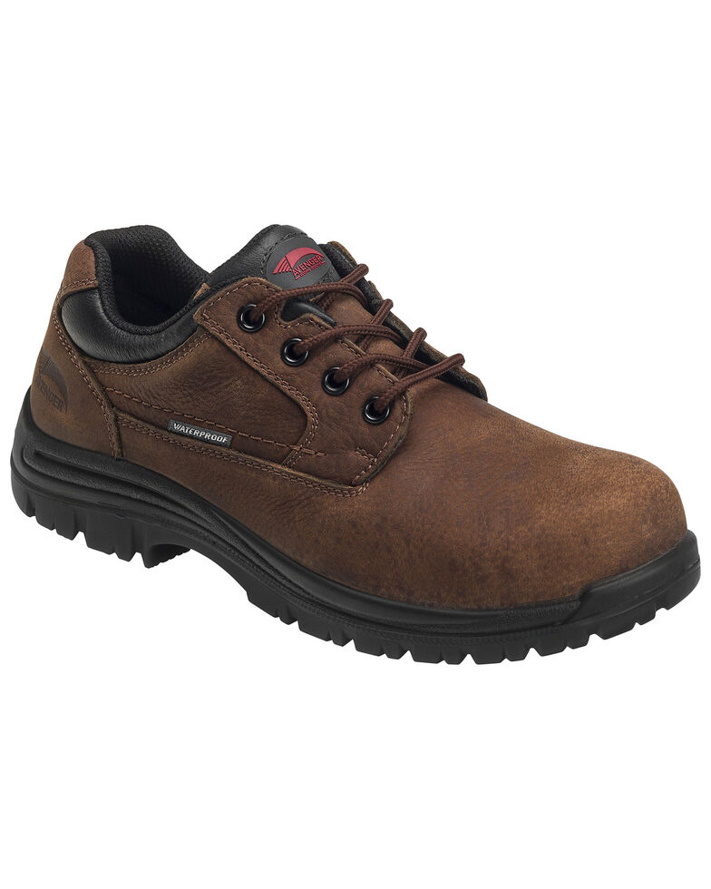 Avenger Men's Waterproof Oxford Work Shoes - Composite Toe, Brown, hi-res