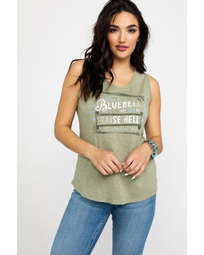 Idyllwind Women's Texas Bluebell Muscle Tank, Olive, hi-res