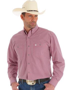 Wrangler George Strait Men's Red Geo Print Shirt , Red, hi-res