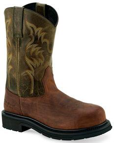 Old West Men's Orange Western Work Boots - Steel Toe, Orange, hi-res