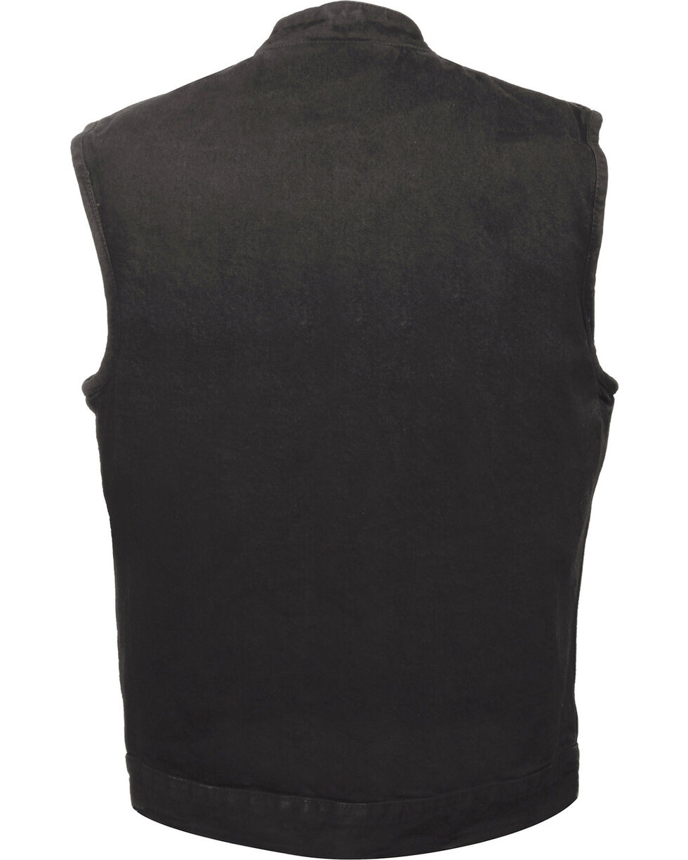 Milwaukee Leather Men's Snap Front Denim Club Style Vest w/ Gun Pocket - Big - 3X, , hi-res