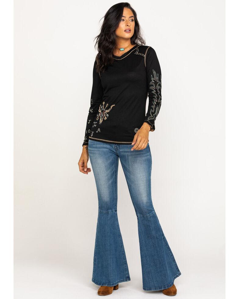 Double D Ranchwear Women's Branding Season Long Sleeve Tee, Black, hi-res