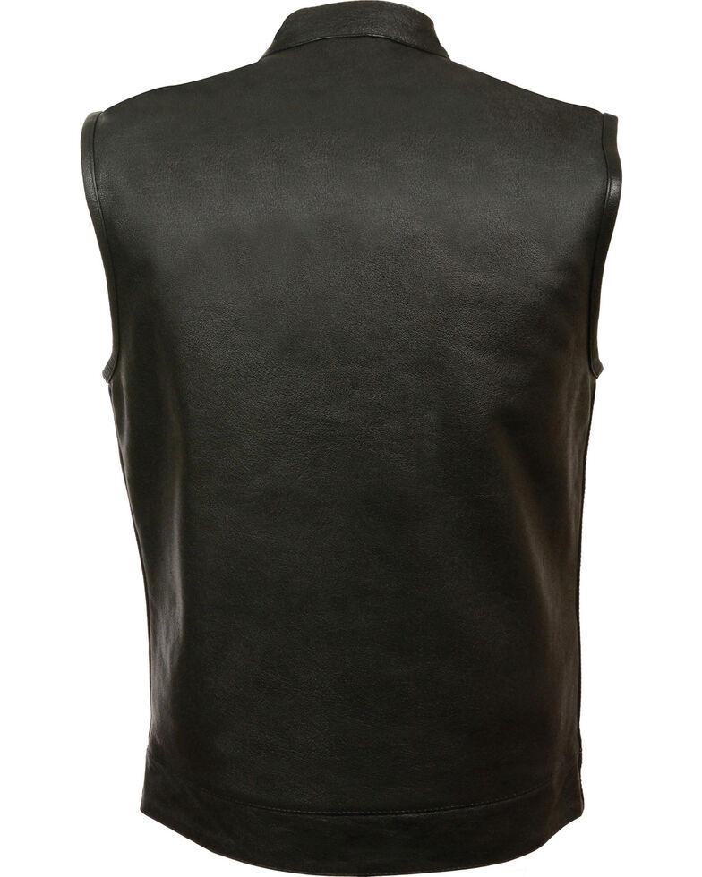 Milwaukee Leather Men's Open Neck Club Style Vest - 5X, Black, hi-res