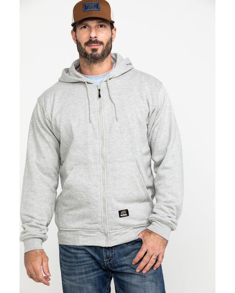 Berne Men's Original Fleece Hooded Zip Front Work Sweatshirt , Grey, hi-res