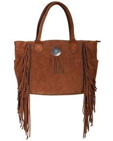 Scully Women's Leather Fringe Studded Handbag, Tan, hi-res
