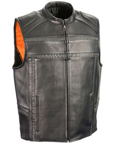 Milwaukee Leather Men's Reflective Band & Piping Zip Front Vest - 3X, Black, hi-res