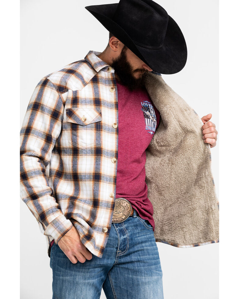 Cody James Men's Avalon Plaid Sherpa Bonded Long Sleeve Western Flannel Shirt , White, hi-res