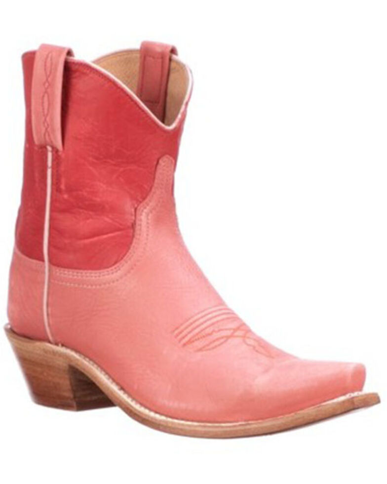 Lucchese Women's Gaby Two-Tone Western Booties - Snip Toe, Coral, hi-res
