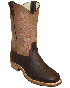 Abilene Men's Bison Two-Toned Western Boots - Round Toe, Brown, hi-res