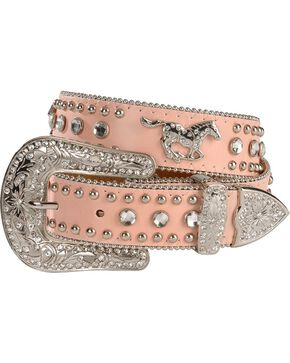 Nocona Girls' Pink Rhinestone Running Horse Concho Leather Belt - 18-28, Pink, hi-res