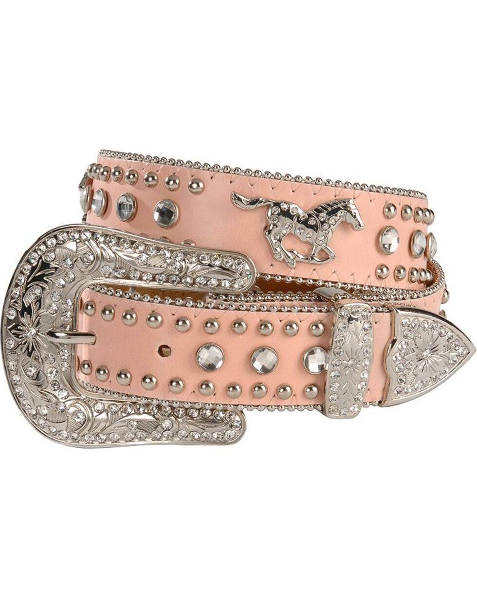 Nocona Girls' Pink Rhinestone Running Horse Concho Leather Belt - 18-28, Pink, hi-res